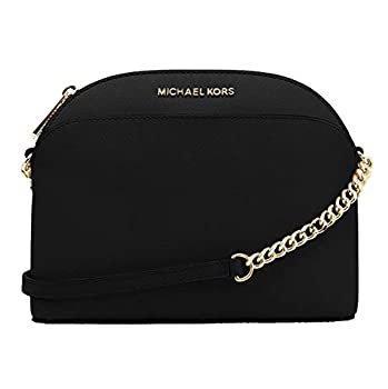 Michael Kors Emmy Saffiano Leather Medium Crossbody Bag  Black Saffiano