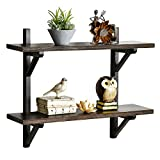 WELLAND Rustic Wall Shelf for Bathroom| 2 Tier Floating Shelf for Kitchen and Bedroom| Solid Pine Wood & Brackets| Espresso Finish| 23.6' W x 6.7' D x 18.9' H| Easy to Assemble