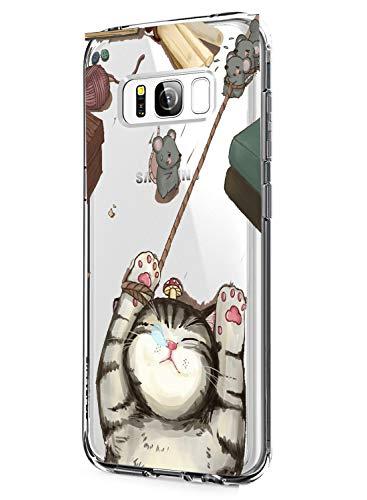 AIsoar ersatz für Galaxy S8 Hülle,Samsung S8 Handyhülle Transparent Silicon, [Ultradünn] Weich Soft Durchsichtige Flex TPU Case Stoßfest Kratzfest Kaktus Schutzhülle für Galaxy S8 (Katze)