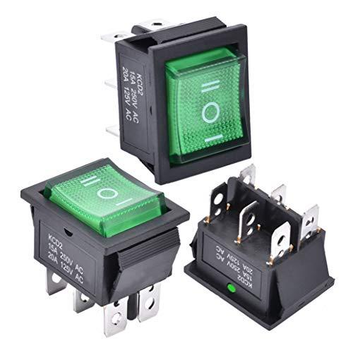 APIELE 3 interruttori a levetta, 3 posizioni, ON/OFF con interruttore a LED DPDT a 6 pin, 250 V, 16 A, interruttore a levetta per abitazioni, industrie, fai da te, KCD2-203N (verde)