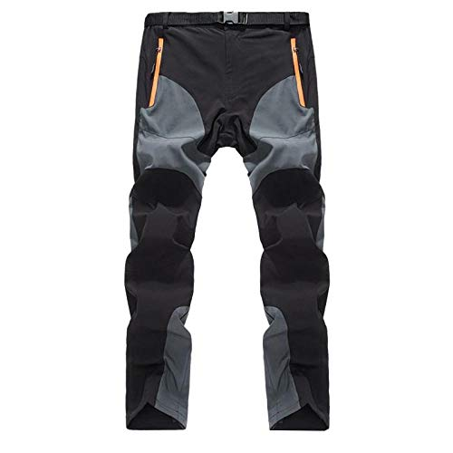 Shuangklei Mens Summer Quick Dry Pants Two Colors Patchworkk Zipper Pocket Breathable Hiking Camping Climbing Trousers Cargo Pants Men-M_Black_and_Dark_Grey