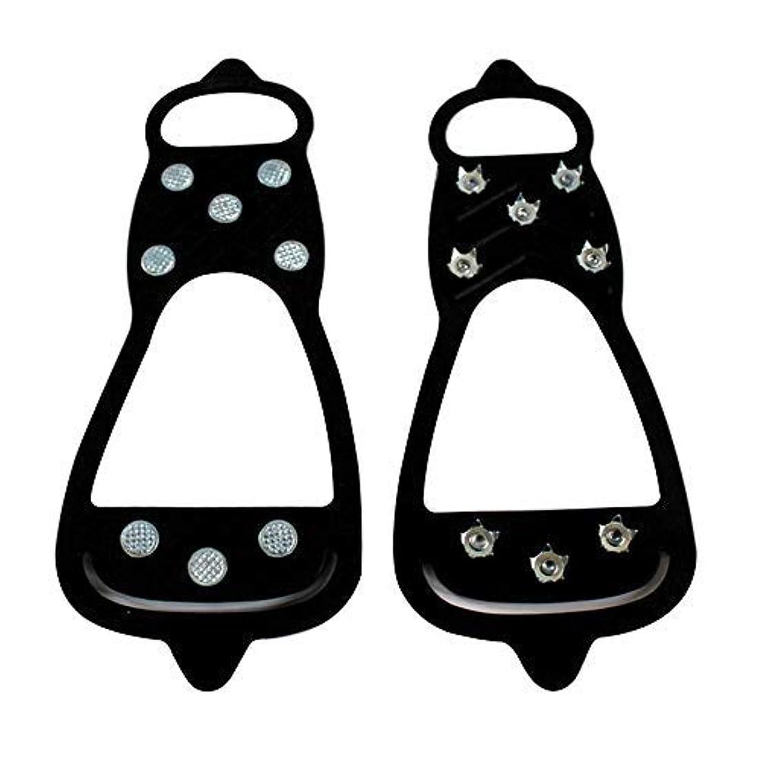 時刻表通知するレンチKOBWA 8本爪 アイゼン ステンレス鋼の氷の爪 登山 滑り止め 転倒防止 靴カバー スチール歯チェーン