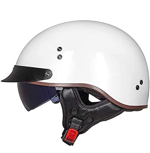 Cascos Moto Cascos Half-Helmet Abierto Medio Casco e Motocicleta Retro ECE Homologado con Visera Cascos Vintage Style Helmet Bici Viaje Crucero Scooter Bicicleta para Adultos Hombres Mujeres 4