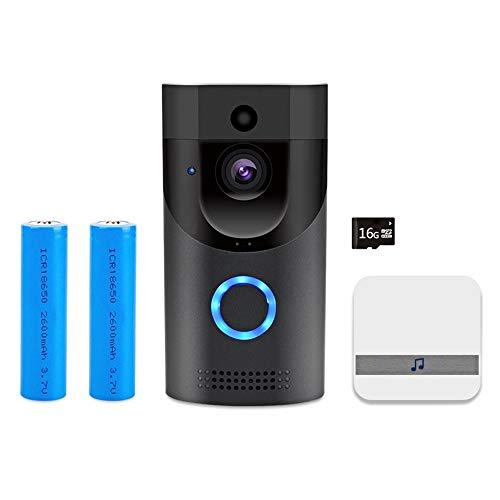 Timbre de video inalámbrico, 720 P HD Cámara de timbre de seguridad para el hogar con tarjeta de memoria de 16GB Control de teléfono móvil con lente gran angular de 166 grados Visión nocturna Visión