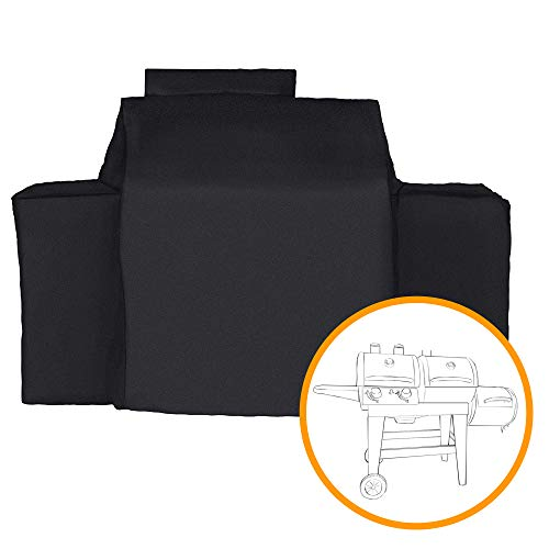 iCOVER Charcoal Gas Grill Cover-Fits Char-Griller Dual Function 5030 2 Burner Gas-and-Charcoal Grill, Heavy Duty Waterproof Patio Outdoor Canvas Barbeque BBQ Grill Cover Black #G21622 Covers Grill
