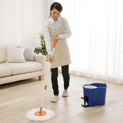 【バケツ付き】アイリスオーヤマ 回転モップ 手が汚れない 足踏みタイプ :ノーマル 楽々 洗浄 脱水 KMO-450