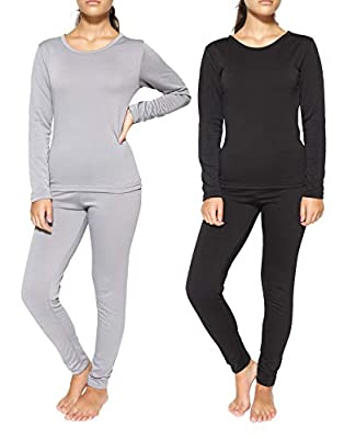 2 Pack: Womens Thermal Underwear Set Thermal Underwear for Women Fleece Lined Legging Long Johns Skiing Apparel-Set 1,S