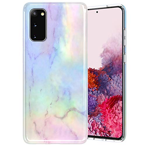 Caka Marble Case for Galaxy S20 Case for Women Girls Marble Protective Slim Flexible Luxury Fashion Shockproof Phone Case for Galaxy S20 5G 6.2 inch (Opal)