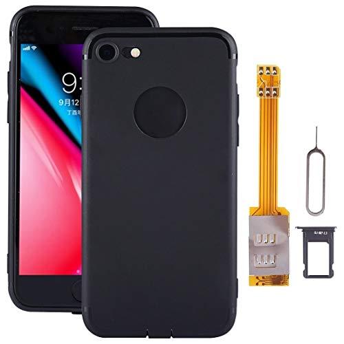 Dmtrab para Para el Kit de Adaptador de Tarjetas SIM Dual DE iPhone 8 con Funda Protectora Suave (Negro) (Color : Black)