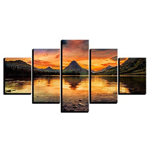 NHFGJ Leinwanddrucke 5 Stücke Gedruckt Sunset at sea Leinwand Malerei Wohnzimmer Wandkunst Dekoration Hd Bild Modern Frameless 200x100cm