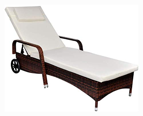 Sun Lounger, Sun Lounger with Cushion & Wheels Poly Rattan Brown