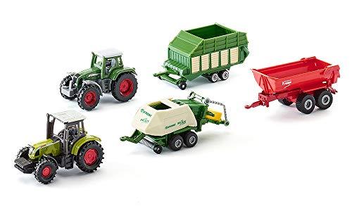 SIKU 6286, Geschenkset 7 - Landwirtschaft, Metall/Kunststoff, Multicolor, Spielkombination, Untereinander kompatibel, Bewegliche Teile, 2 Traktoren, 3 Anhänger