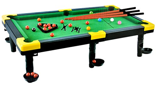 Toyshine Portable Snooker Pool Table Toy with 3 Rods