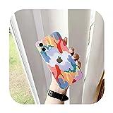 Coque colorée peinte à la main pour iPhone 12 11 Pro Max Mini X XS Max XR Paysage Coque rigide...