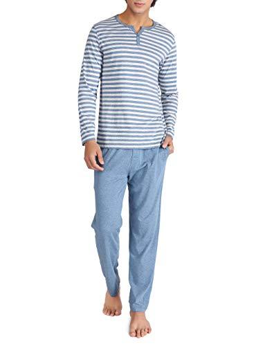 DAVID ARCHY Men's Cotton Heather Striped Sleepwear Long Sleeve Top & Bottom Pajama Set (Heather Navy Blue, L)