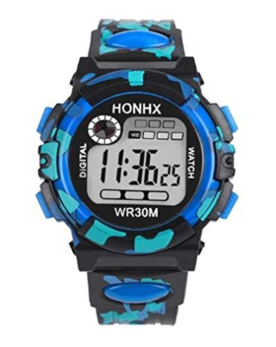 Multi Funktion Chidren Digitaluhr Jungen Mädchen Kind Gummi Silikon Sport Elektronische Armbanduhr K AccessCube (Blau)