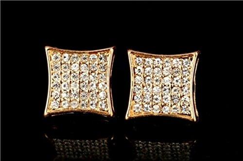 CXLD - Pendientes de tuerca chapados en platino, diseño de hip hop, 13 mm, M06