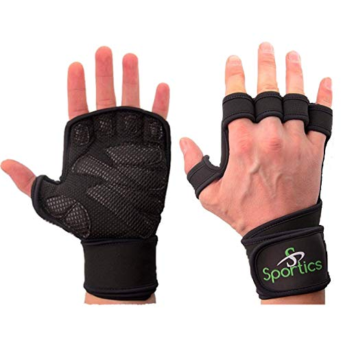 Crossfit Gloves Weight Lifting with Wrist Support for Gym Workout Cross Training Fitness WOD Pull Ups Weightlifting Strong Grip Full Palm Protection Wrist Wraps Suitable for Both Men and Women (L)