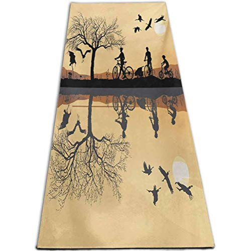 RenteriaDecor Mountain Gym Sports Yoga Mat Silhouette of Strokes and a Family with Bicycles Near a Lakeside Earth Yellow Black Brown