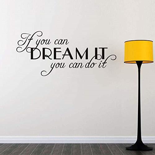 Muursticker als je kunt dromen waar te komen, dan kun je motiverende afspraken maken voor je kind. Afneembare muursticker voor huisdecoratie Vinyl 26x57cm
