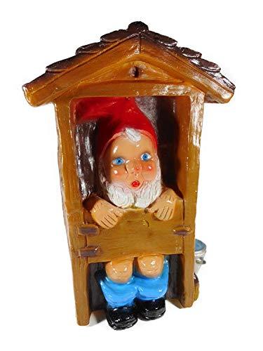 Gartenzwerg WC Häuschen 30 cm Made in Germany Garten bruchfest PVC Deko GRS 0866