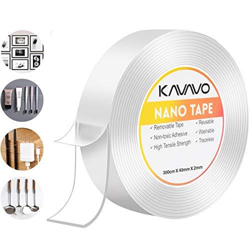 Nano Magico Nastro Biadesivo Riutilizzabile,300CM*4CM*2MM Multifunzionale Nastro di Colla Trasparente Rimovibile Senza Traccia, Lavabile Forte Adesivo Antiscivolo di Gel da Ufficio, Tappeto, Cucina.