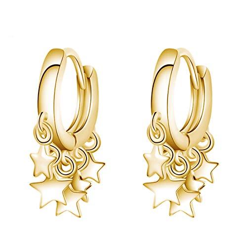 Pendientes modernos para mujer con diseño de estrellas colgantes, dorados, cierre de tipo aro, accesorio de joyería ideal como regalo
