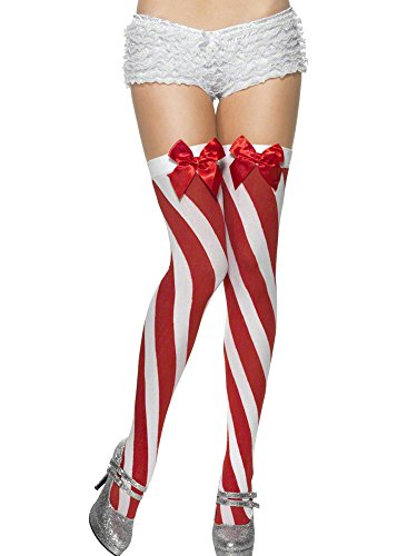 SMIFFYS Candy Stripe Thigh High Stockings, Red and White