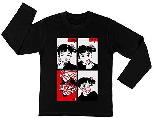 Anime Meisje Rood Lippenstift Unisex Kinder Jongens Meisjes Lange Mouwen T-shirt Zwart Unisex Kids Boys Girls's Long Sleeves T-Shirt Black