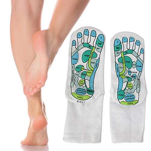 mementoy 1 Paar Massage Assistant Socken Baumwollsocken mit Anweisungen Bereiche der Reflexzonenmassage