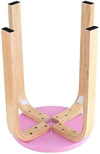 TIANHUA Geschwungene Holzbank, Rutsch gebogen Haushalt Holzbank Ist runder Bonbonfarbenen Stuhl Stapelstuhl für Wohnmöbel Kinderzimmer (Pink),Pink