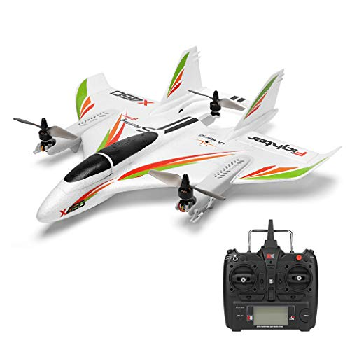 X450 6CH 3D/6G RC Vertical Takeoff LED Glider Beginner Airplane 2.4Ghz Transmitter Remote Control Distance 300m Fixed Wing Airplane Aircraft RTF Children Adult Drone Flying Toy