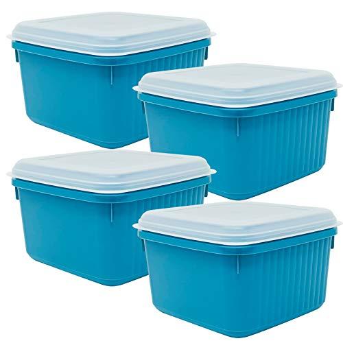 Codil 4×Recipientes de Almacenamiento,Envases Cocina,Contenedores Reutilizables,Fiambreras de Plástico,Cuadrado con Tapas Flexibles,para Congelar Almacenar y Mantener Alimentos Frescos,Azul,2L