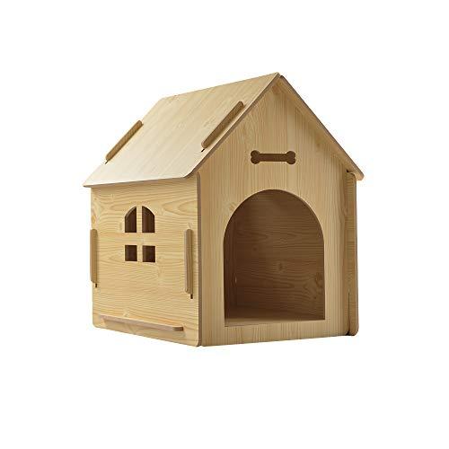 thematys Perrera de Madera para Perros I Casa para Perros para Uso Interior y Exterior I Lugar para Dormir a Las Mascotas I Resistente a la Intemperie y a los arañazos (M (51 x 40 x 52 cm), Style 4)
