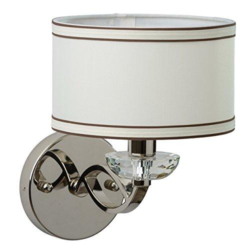 Chiaro 386025101 Applique Magnifique Style Moderne Armature en Métal couleur Chrome Abat-jour en Tissu Blanc Brun pour Salon Chambre 1x40W E14