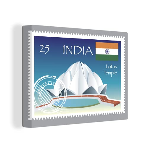 Leinwandbild - Illustration einer Briefmarke aus Indien mit dem Lotus-Tempel - 40x30 cm