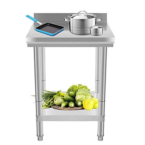 Edelstahl Küchentisch Arbeitstisch,Edelstahltisch Werkbank für Küche Bar Restaurant,61x61x90cm