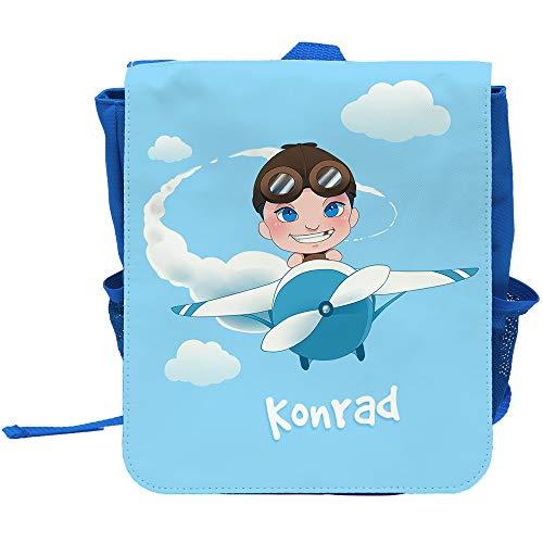 Kinder-Rucksack mit Namen Konrad und Motiv mit Pilot und Flugzeug für Jungen