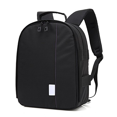 TOOGOO DSLR Camera Bag Backpack Photo Camera Backpack Bag Camera Bag Backpack for Sony A6000 Nikon D90 D750 Canon 550d All SLR Cameras Black+Purple
