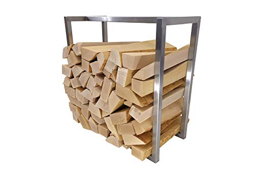 Namor© Edelstahl Kaminholzregal | Kaminholzständer | Kaminholzhalter | Holzaufbewahrung | Holztrage | Holzlager | Brennholzregal | Rostfreier Innen- oder Außeneinsatz (50 x 22 x 50 cm (LxBxH))