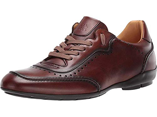 Mezlan Tivoli Mens Fashion Sneaker - Burnished Uppers with Contoured Leather Sole - Made of Spanish Calfskin - Handcrafted in Spain - Medium Width (9.5, Cognac)