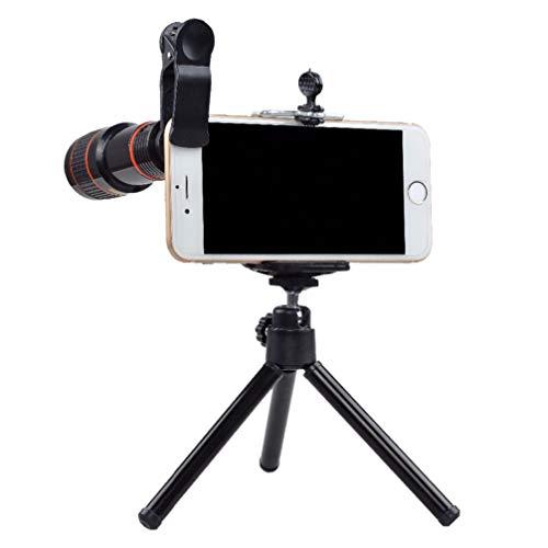 Hemobllo - Juego de Objetivos 2 en 1 para móviles con trípode y Clip de 12 teleobjetivos para Smartphone y Tablet fijos, Color Negro