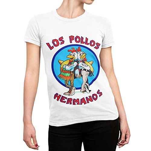 CHEMAGLIETTE! T-Shirt Divertente Donna Maglietta con Stampa Simpatica Los Pollos Hermanos Bianco, M