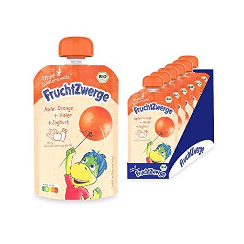FruchtZwerge Bio Quetschbeutel Apfel-Orange + Hafer + Joghurt 6er Pack, 540 g
