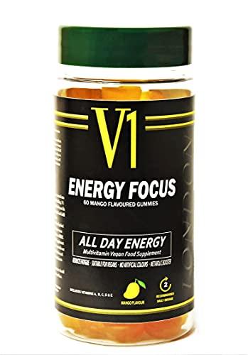 Multivitamin Energy Gummies,Energy Gummies, Multivitamin Energy Vitamins,60 Mango Flavour,Focus & Energy Vitamins, Vegan Multivitamins B,C,A Metabolism Boosting, Multivitamin Tablets for Men & Women