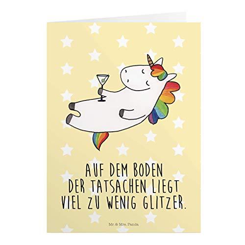 Mr. & Mrs. Panda Hochzeitskarte, Geburtstagskarte, Grußkarte Einhorn Cocktail mit Spruch - Farbe Gelb Pastell