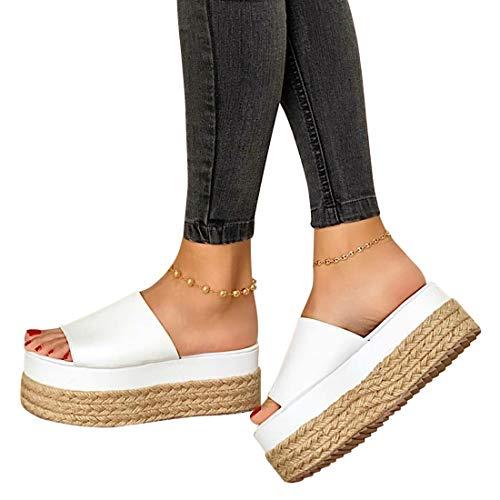 MoneRffi Damen Sandalen Casual Hauschuhe Damen Sommer Outdoor Peep Toe High Heel Plattform Pantoletten Anti Rutsch Sandalen(Weiß,42 EU)
