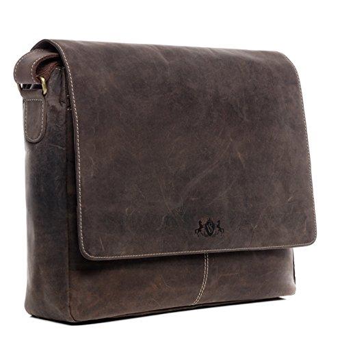 "SID & VAIN Messenger Bag echt Leder Laptoptasche Spencer groß Businesstasche Umhängetasche Laptopfach 15.6\"" Ledertasche Herren braun"