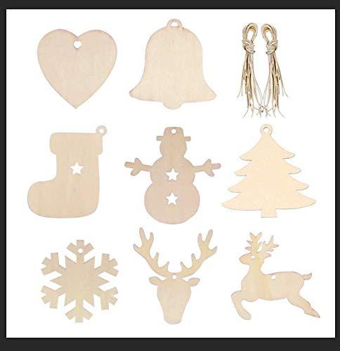 Feliciay 80 szt. drewniane ozdoby świąteczne zrób to sam rzemiosło dla dzieci niedokończone plasterki drewna wiszące dekoracje świąteczne ozdoba wisiorek materiały naturalne przedmioty na środku (8 kształtów)
