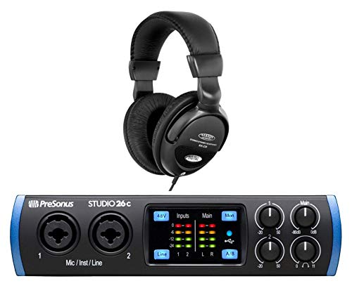 PreSonus Studio 26c USB-C Audio Interface Set (Mobiles 2x4 USB-C Audio Interface mit DAW-Software Bundle & Komfort-Kopfhörer)